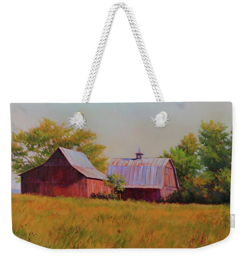 Barns Weekender Tote Bag featuring the painting Sisters by Keith Burgess