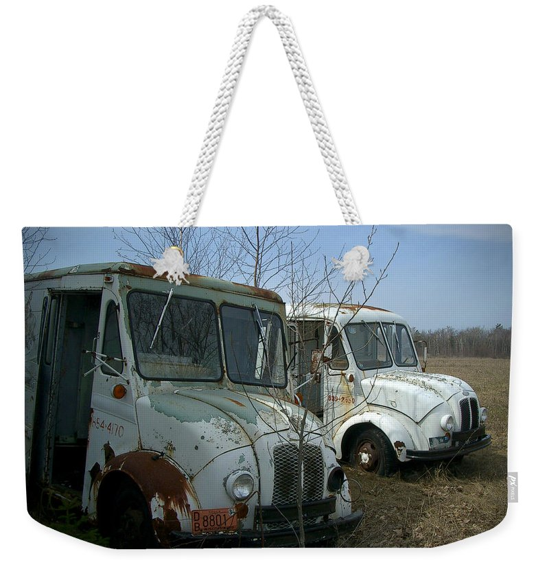 Trucks Weekender Tote Bag featuring the photograph Sisters by Tim Nyberg