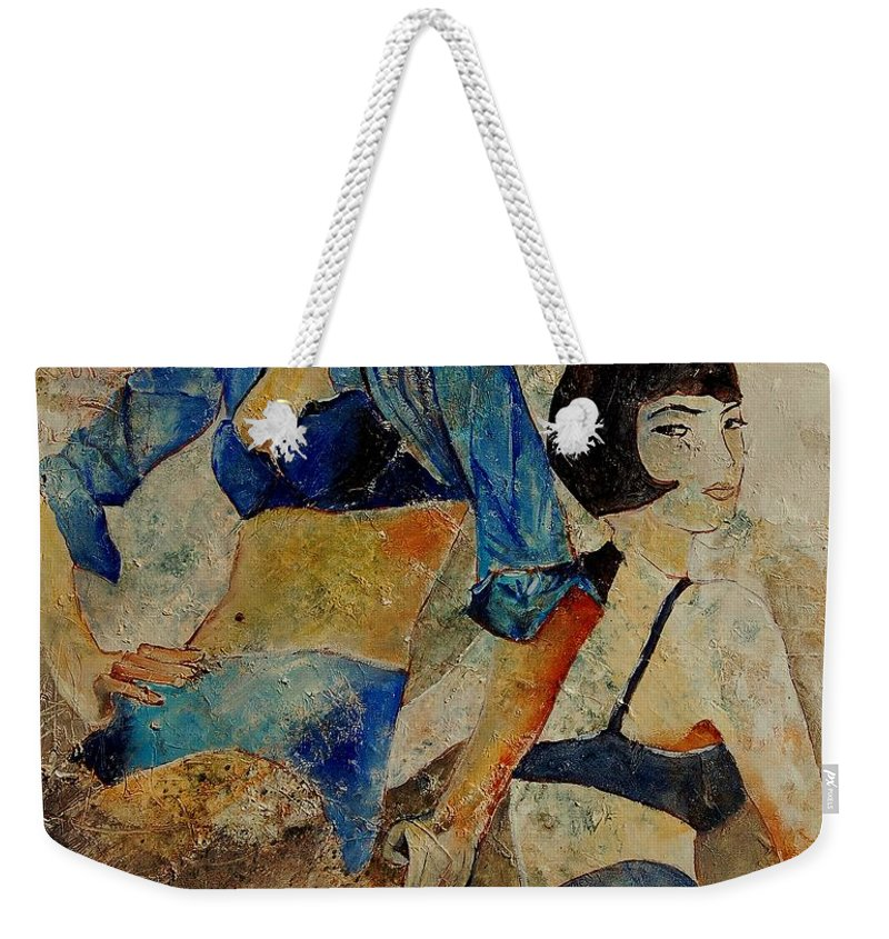 Girl Weekender Tote Bag featuring the painting Sisters by Pol Ledent