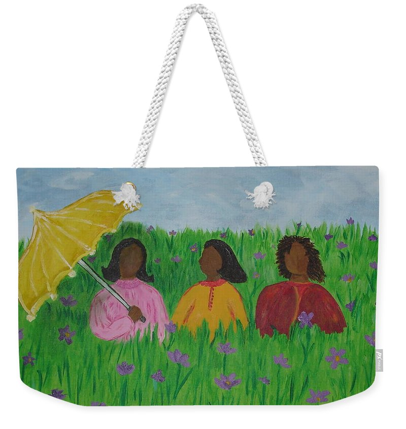 Sisters Weekender Tote Bag featuring the painting Sisters Talk by Sheila J Hall
