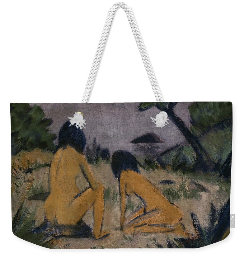 German Painters Weekender Tote Bag featuring the painting Sitting And Kneeling Figures On The Bank Of The Moritzburg Lakes by Otto Mueller