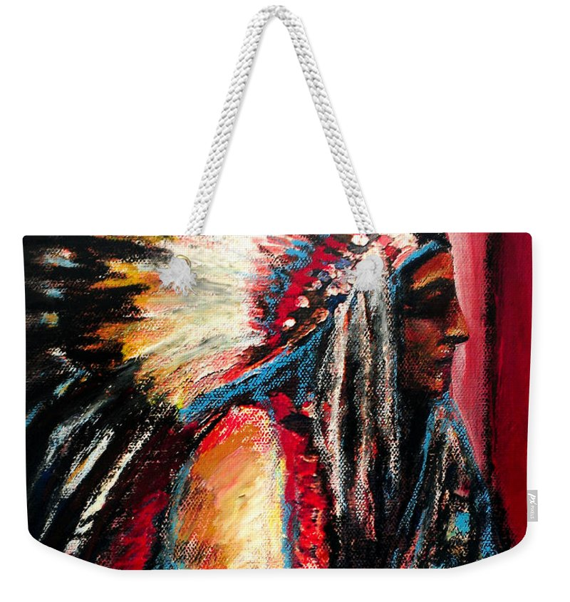 Native American Weekender Tote Bag featuring the painting Sitting Bull by Frank Botello