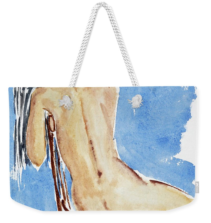 Girl Weekender Tote Bag featuring the painting Sitting Girl by Michal Boubin