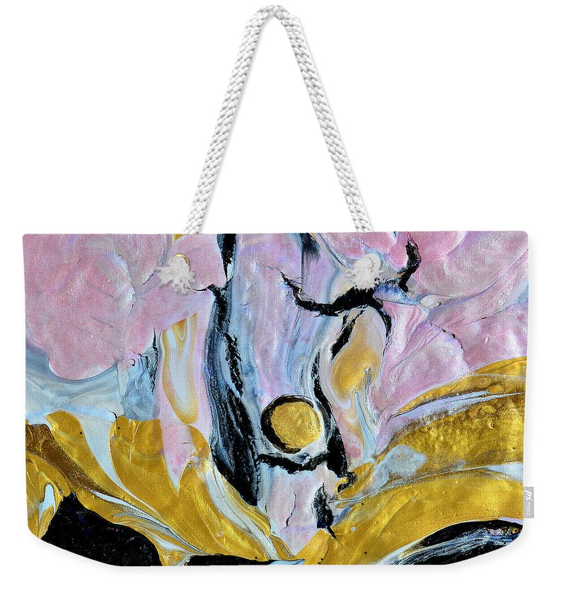 Pink Cloud Weekender Tote Bag featuring the painting Sitting In A Pink Cloud by Donna Blackhall