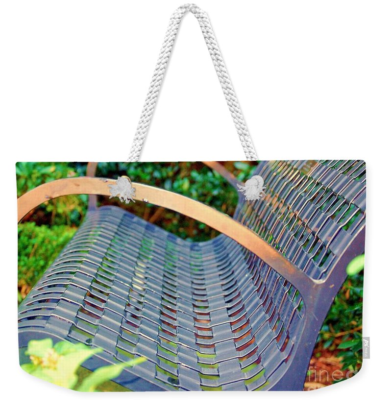 Bench Weekender Tote Bag featuring the photograph Sitting on a Park Bench by Debbi Granruth