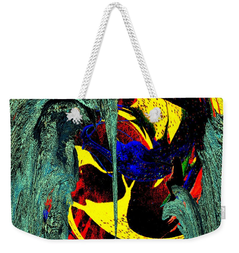Abstract Weekender Tote Bag featuring the digital art Sitting On The Edge by Pete Moyes