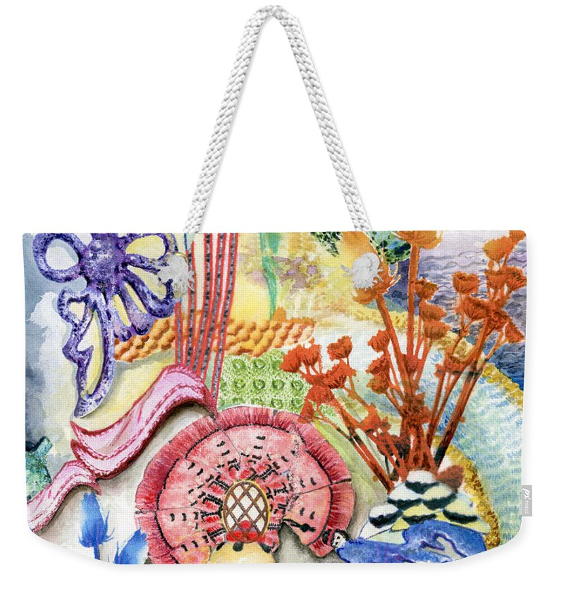 Bright Weekender Tote Bag featuring the painting Sitting Pretty by Valerie Meotti