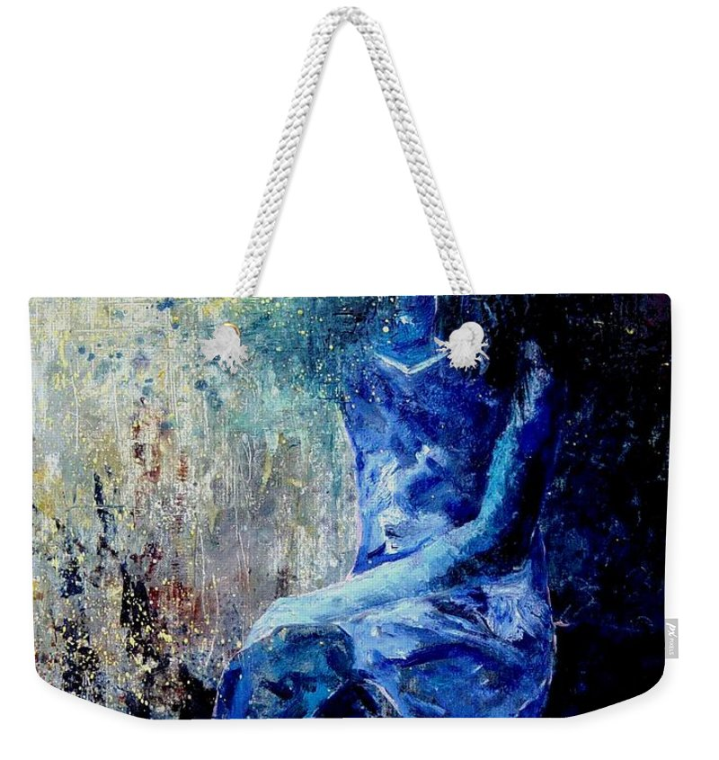 Woman Girl Fashion Weekender Tote Bag featuring the painting Sitting Young Girl by Pol Ledent