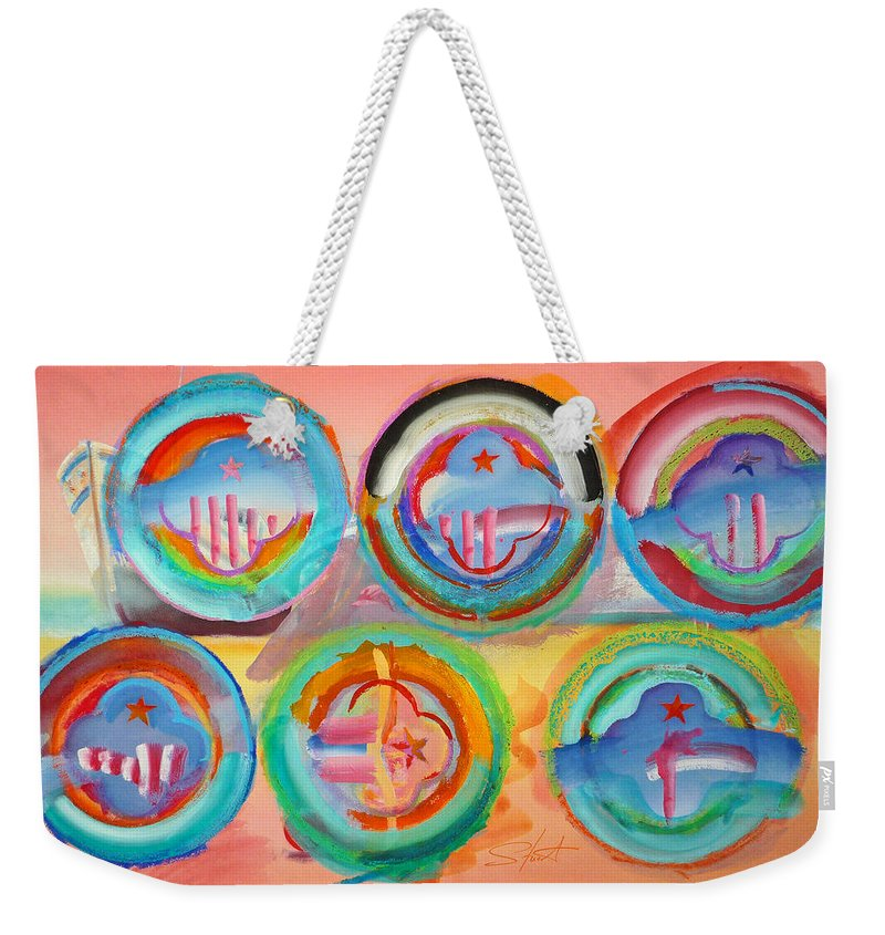9/11 Weekender Tote Bag featuring the painting Six American Icons by Charles Stuart