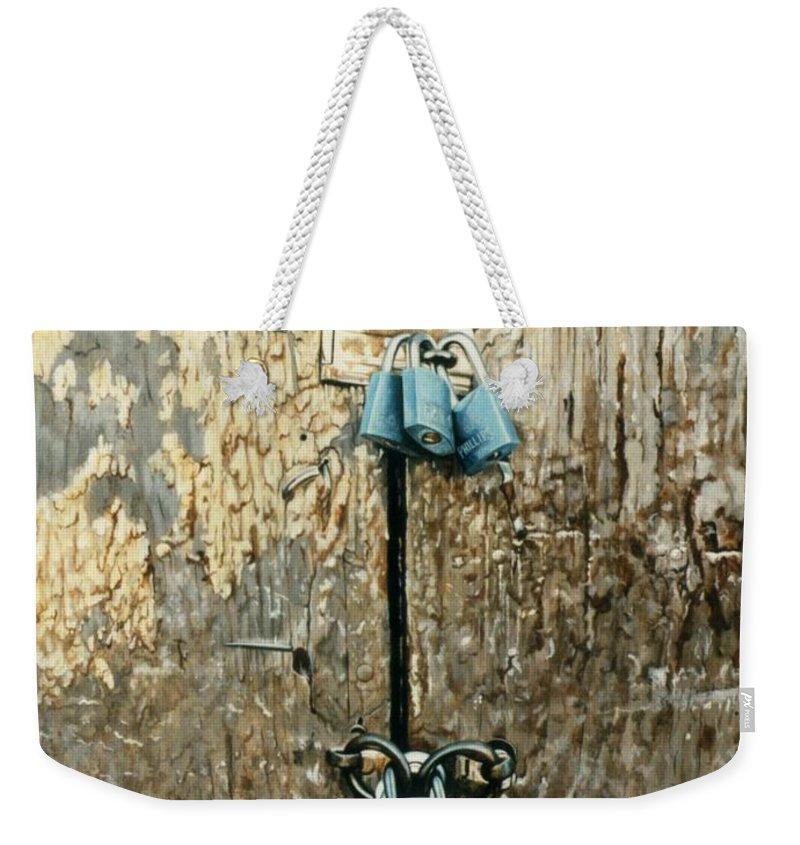 Hyperrealism Weekender Tote Bag featuring the painting Six Locks by Michael Earney