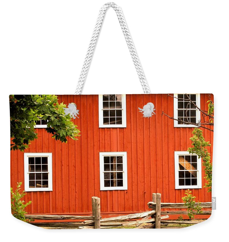 Red Wall Weekender Tote Bag featuring the photograph Six Windows by Ian MacDonald
