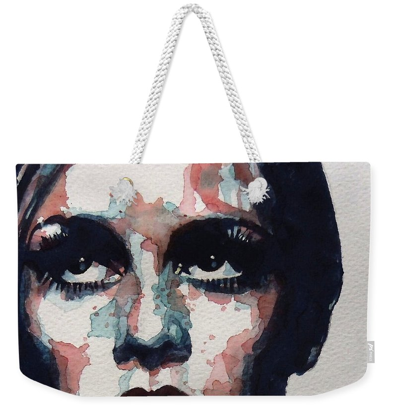 Twiggy Weekender Tote Bag featuring the painting Sixties Sixties Sixties Twiggy by Paul Lovering
