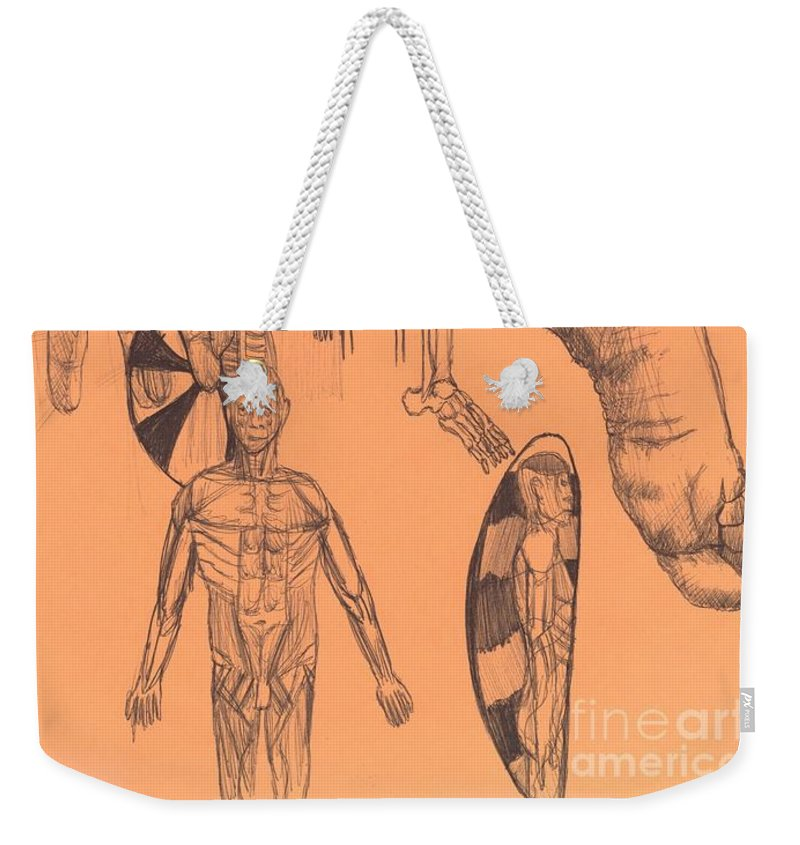Study Anatomy Skeleton Hand Body Foot Weekender Tote Bag featuring the drawing Sjb-03 by St James Bennett