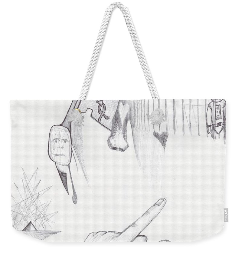 Study Faces Spaceman Hand Pointing Hand Weekender Tote Bag featuring the drawing Sjb-04 by St James Bennett