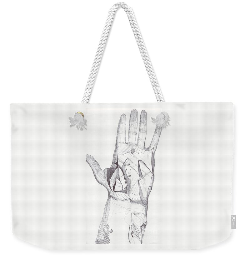 Abstract Hand Drawing Weekender Tote Bag featuring the drawing Sjb-08 by St James Bennett