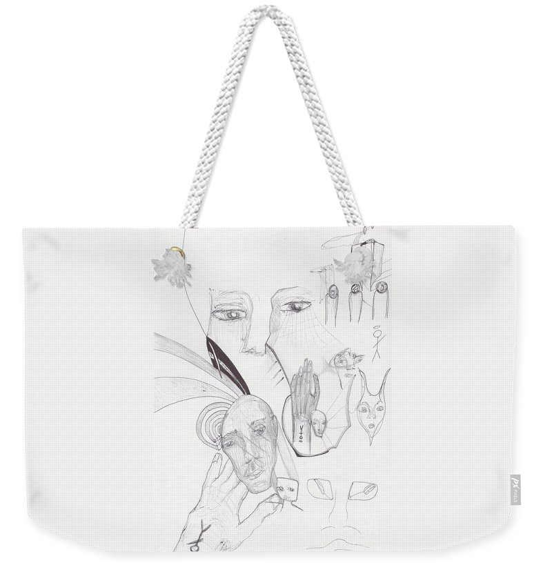 Weekender Tote Bag featuring the drawing Sjb-11 by St James Bennett