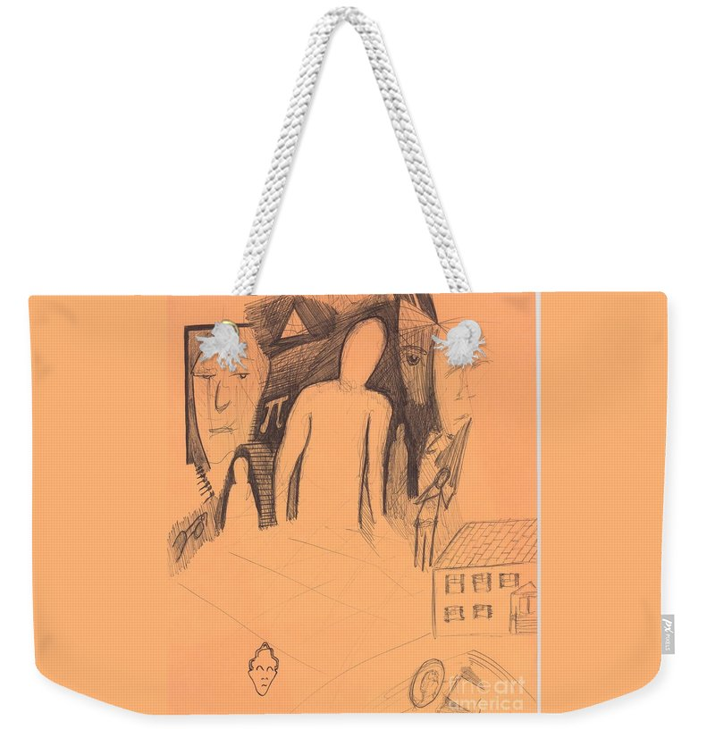 Abstract Images Faces Pi House Weekender Tote Bag featuring the drawing Sjb-13 by St James Bennett