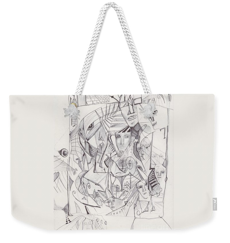 Abstract Faces Weekender Tote Bag featuring the drawing Sjb-17 by St James Bennett
