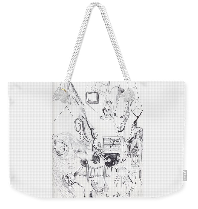 Abstract Drawing Images Faces Weekender Tote Bag featuring the drawing Sjb-21 by St James Bennett