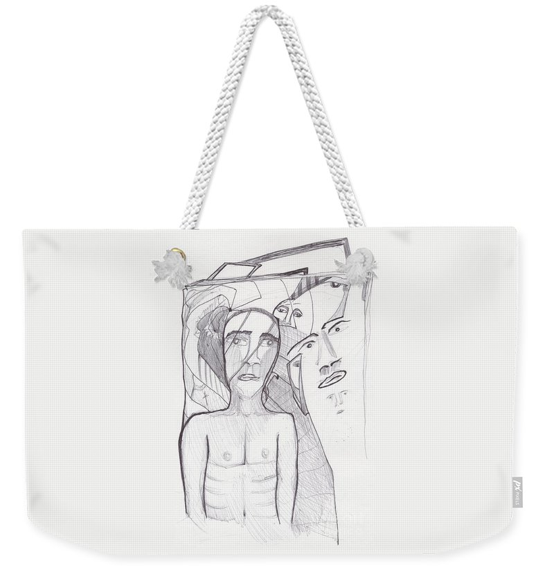 Abstract Faces Drawing Weekender Tote Bag featuring the drawing Sjb-23 by St James Bennett