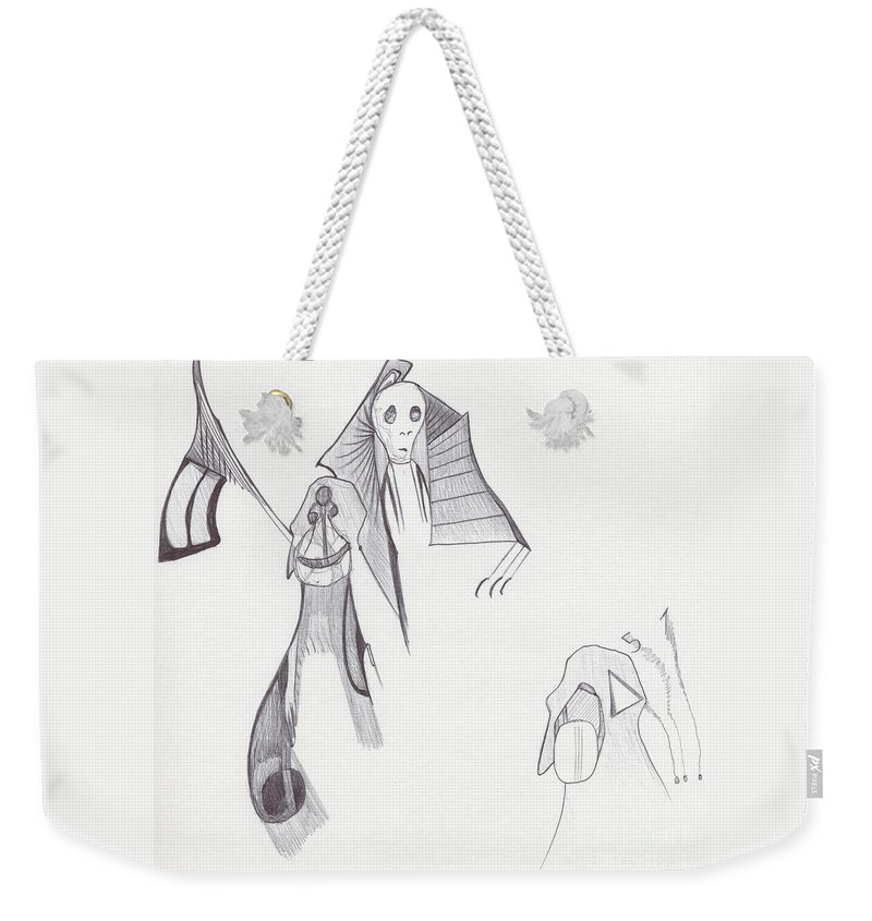 Abstract Drawing Face Weekender Tote Bag featuring the drawing Sjb-26 by St James Bennett