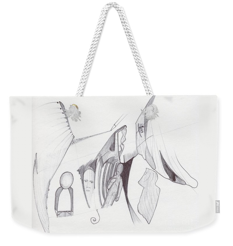 Abstract Face Images Weekender Tote Bag featuring the drawing Sjb-27 by St James Bennett