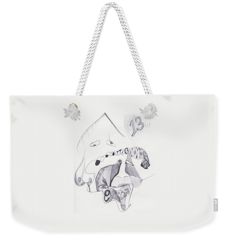 Abstract 13 Images Faces Weekender Tote Bag featuring the drawing Sjb-28 by St James Bennett
