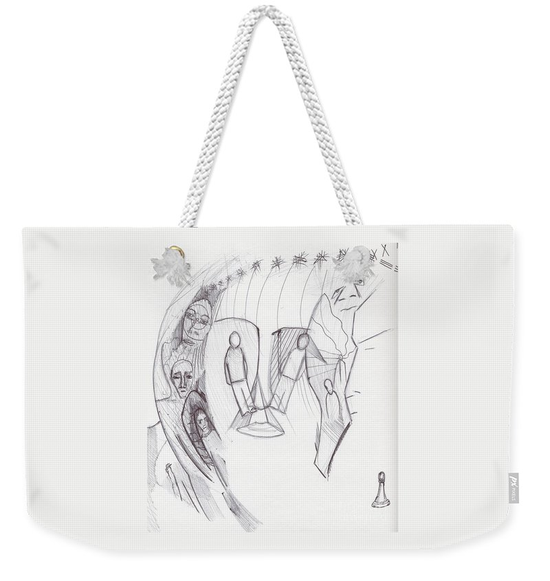 Abstract Faces Pawn Images Drawing Weekender Tote Bag featuring the drawing Sjb-32 by St James Bennett
