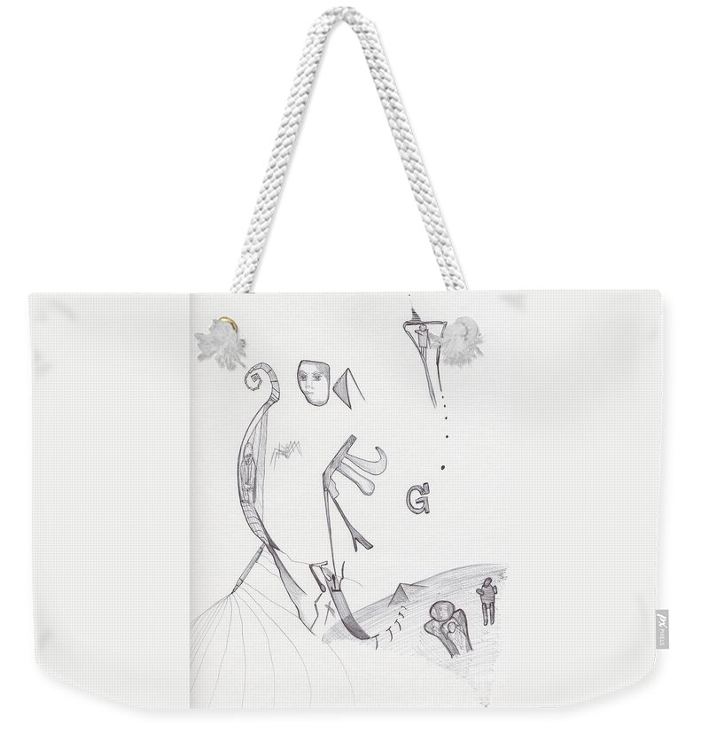 Abstract Pi Images Drawing Weekender Tote Bag featuring the drawing Sjb-34 by St James Bennett