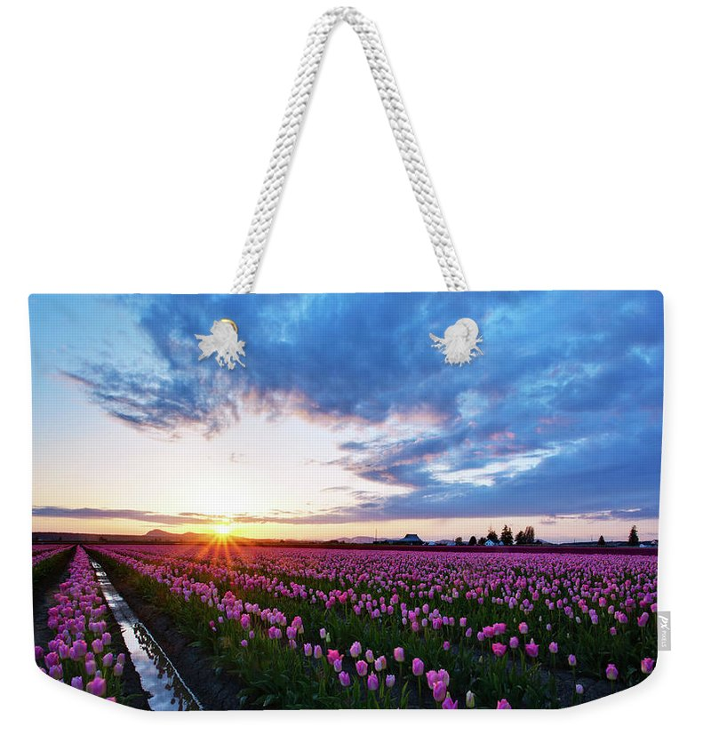 Skagit Weekender Tote Bag featuring the photograph Skagit Floral Sunset by Mike Reid