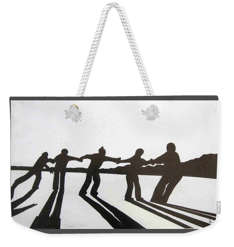 Skaters Weekender Tote Bag featuring the drawing Skaters by Dragica Micki Fortuna
