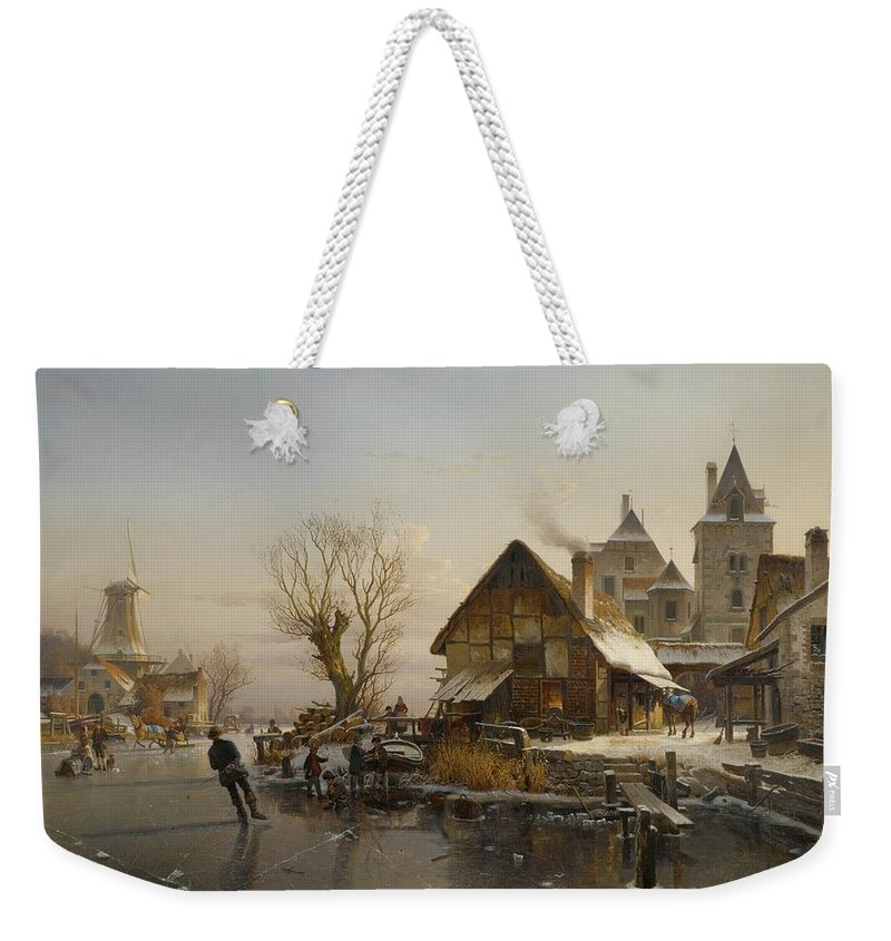 Johannes Duntze 1823 -1895 Dutch Weekender Tote Bag featuring the painting Skaters On The Canal by MotionAge Designs