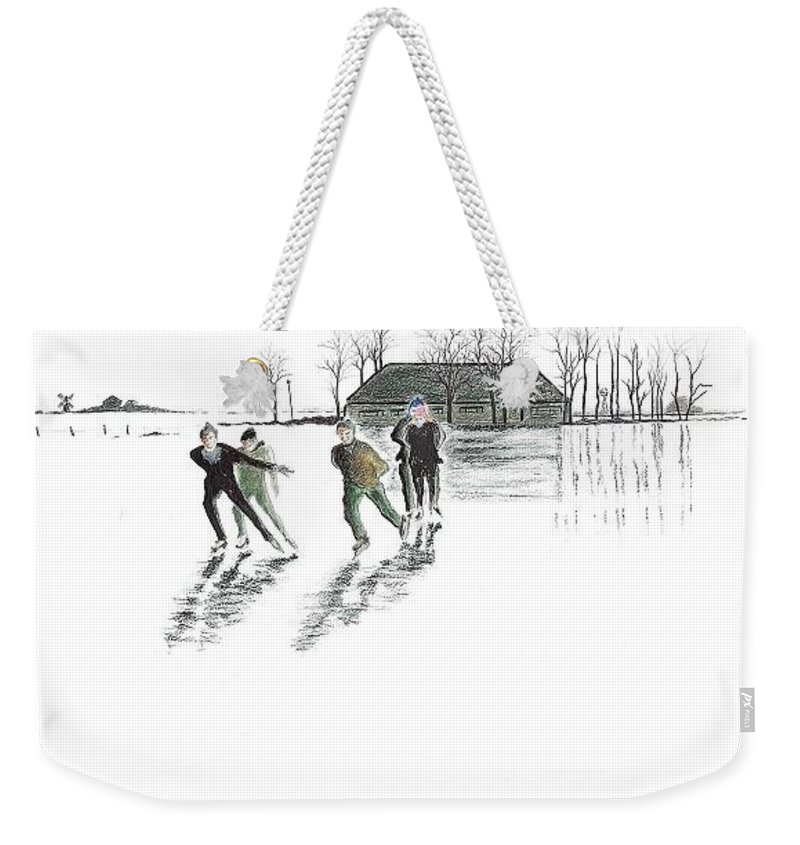 Winter Scene Weekender Tote Bag featuring the drawing Skaters On The Ice by Rich Torres