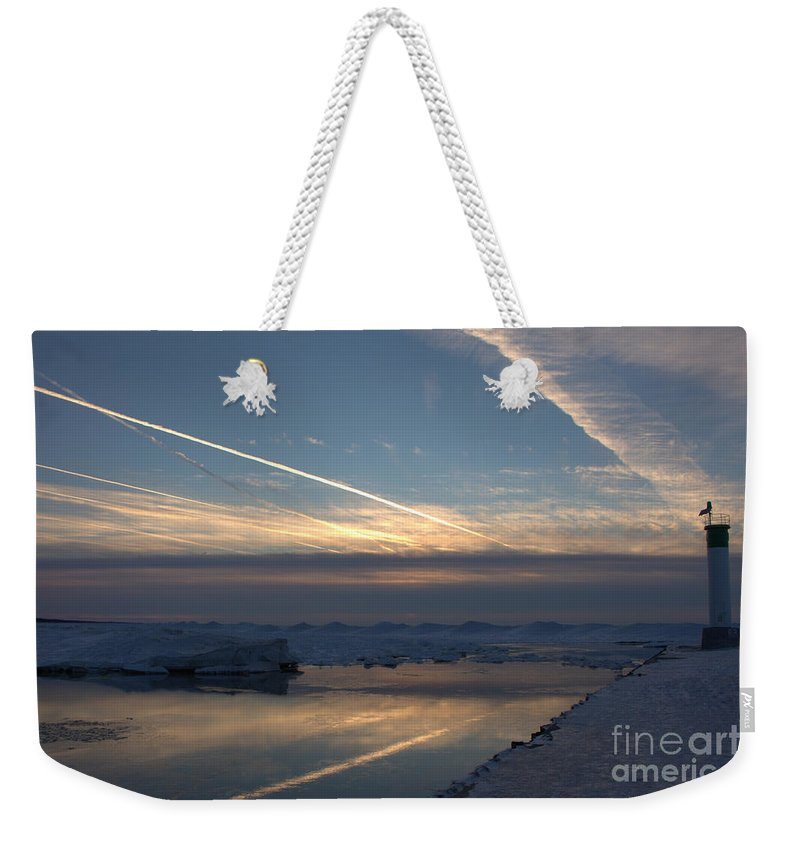 Grand Bend Weekender Tote Bag featuring the photograph Skating On The Sky 5 by John Scatcherd