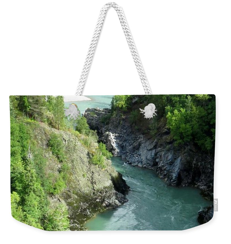 River Weekender Tote Bag featuring the photograph Bulkley River Canyon by Frank Townsley