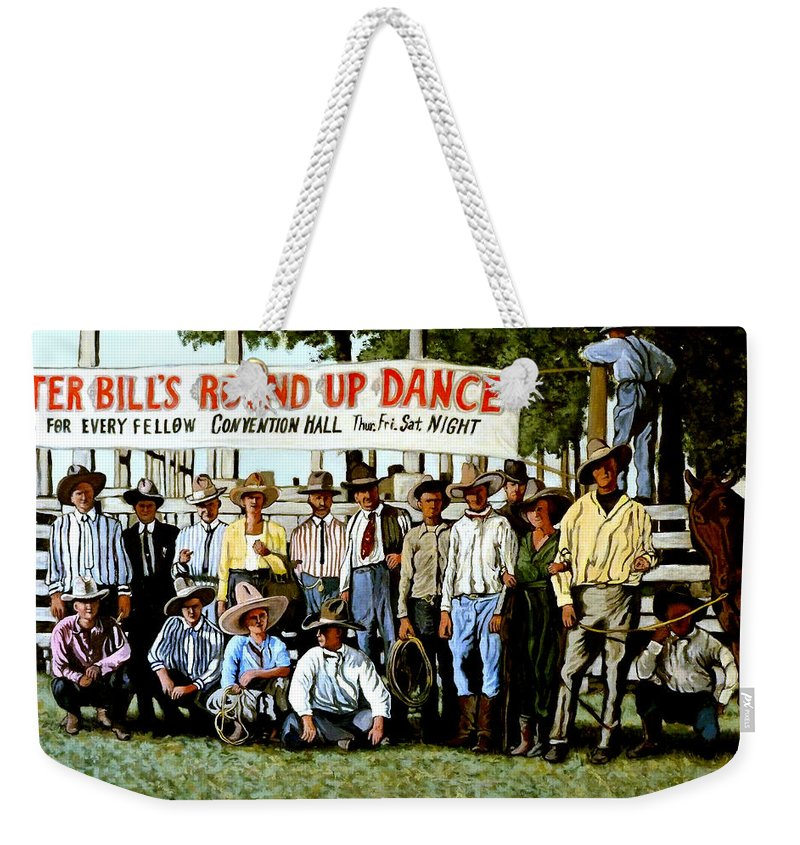 Bull Weekender Tote Bag featuring the painting Skeeter Bill's Round Up by Tom Roderick
