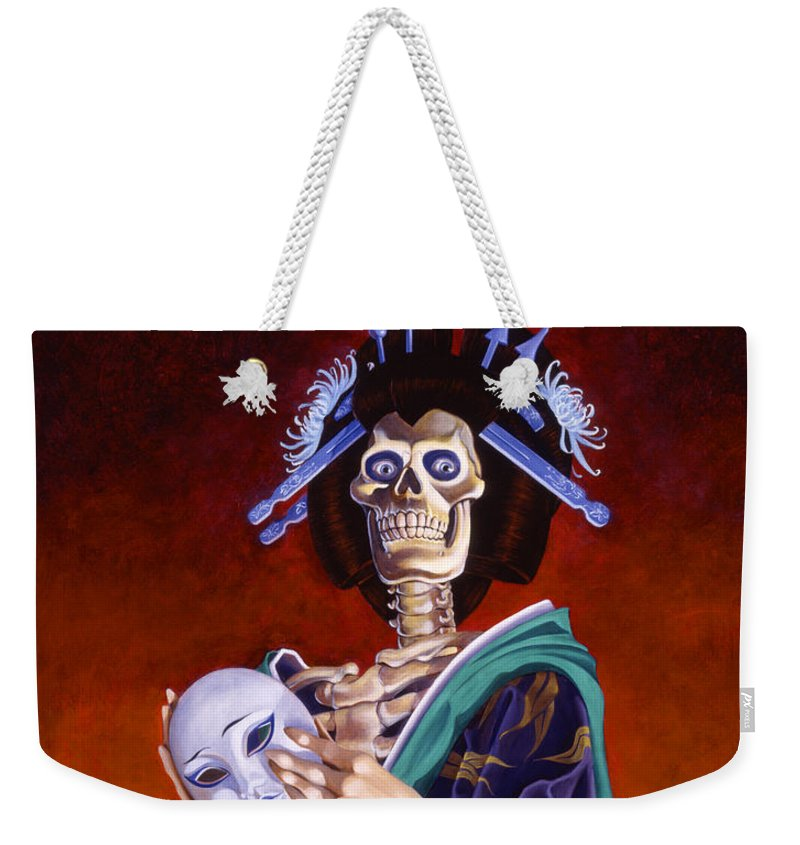 Skeleton Weekender Tote Bag featuring the painting Skeletal Geisha With Mask by Melissa A Benson