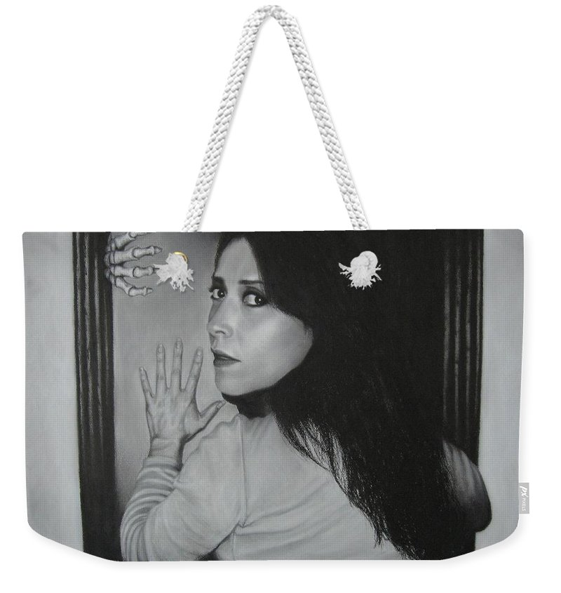 Woman Weekender Tote Bag featuring the painting Skeleton In The Closet by Lynet McDonald