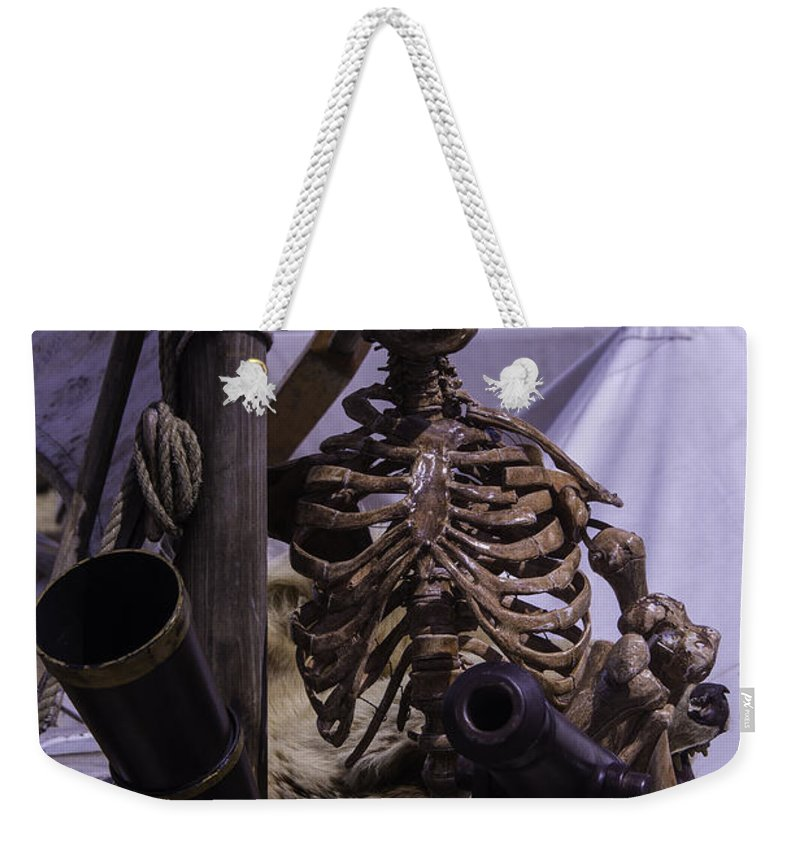 Skeleton Weekender Tote Bag featuring the photograph Skeleton With Bow Canon by Garry Gay