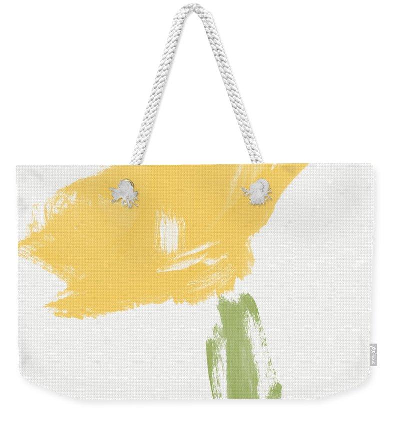 Modern Weekender Tote Bag featuring the painting Sketchbook Yellow Rose- Art By Linda Woods by Linda Woods
