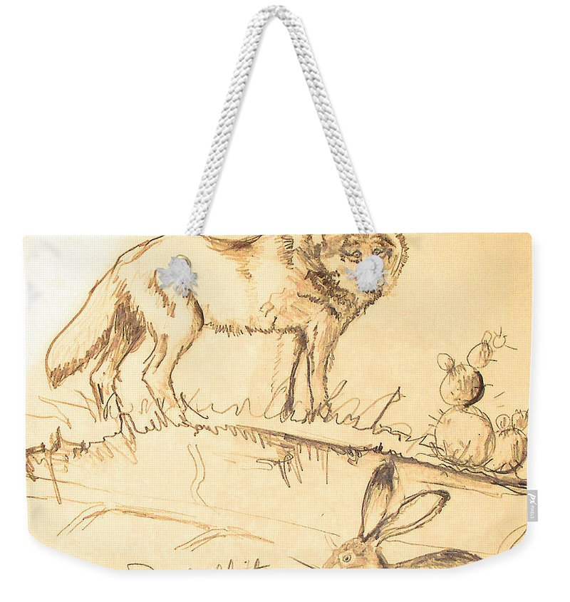 Sketches Weekender Tote Bag featuring the drawing Sketches For Sale by Linda Shackelford