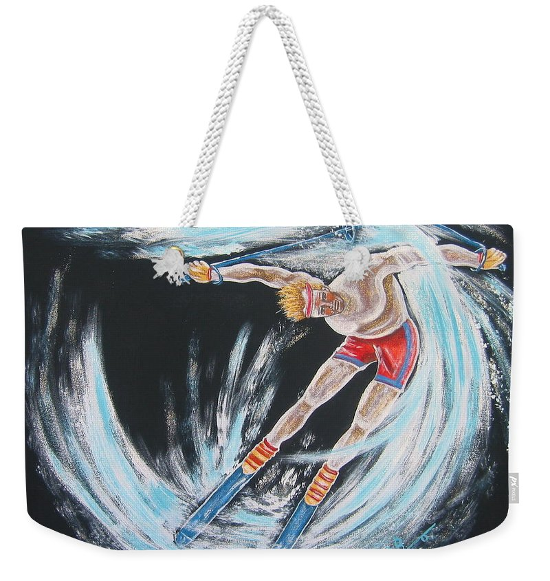 Abstract Sports Weekender Tote Bag featuring the painting Ski Bum by V Boge