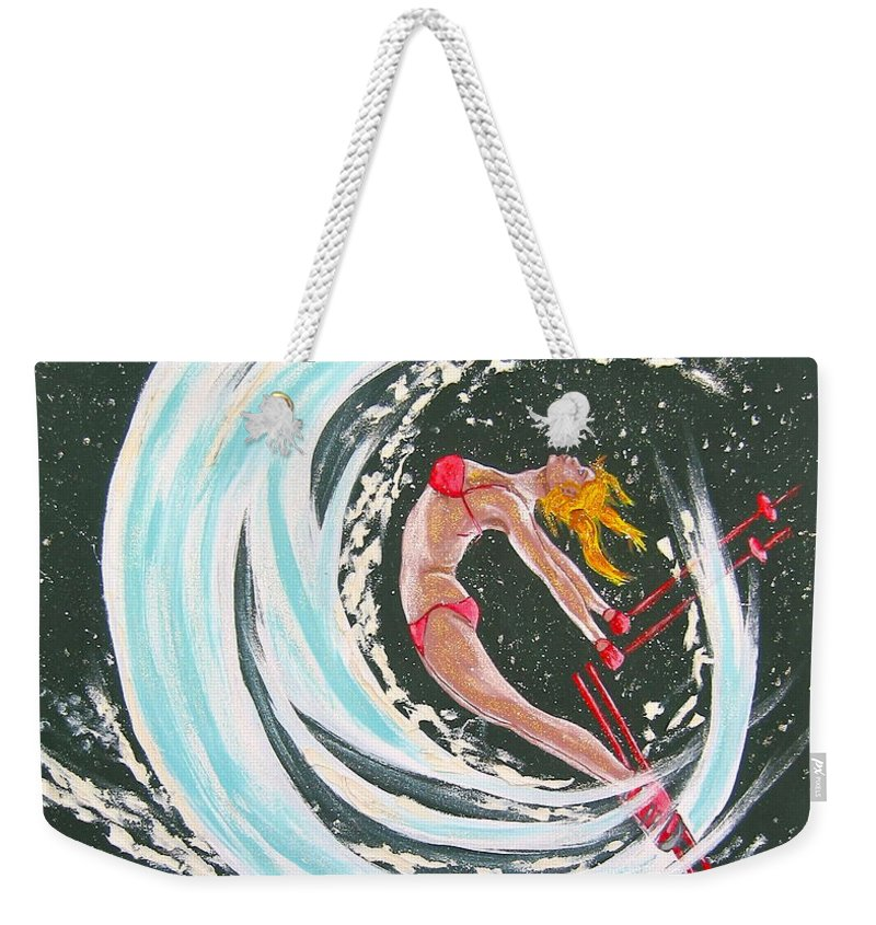 Abstract Sports Weekender Tote Bag featuring the painting Ski Bunny by V Boge