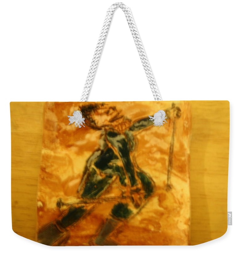 Jesus Weekender Tote Bag featuring the ceramic art Ski Lady - Tile by Gloria Ssali