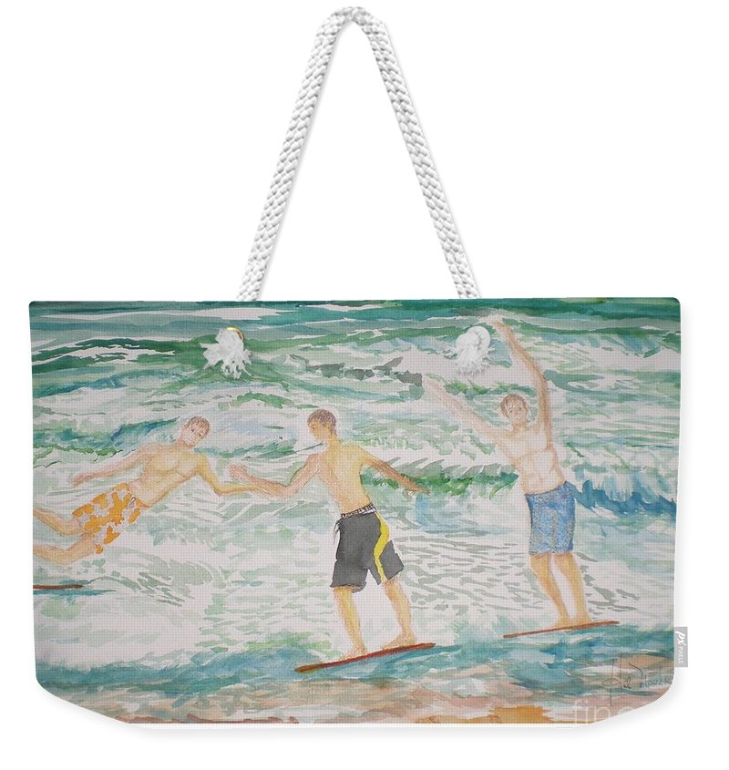Seascape Weekender Tote Bag featuring the painting Skim Boarding Daytona Beach by Hal Newhouser