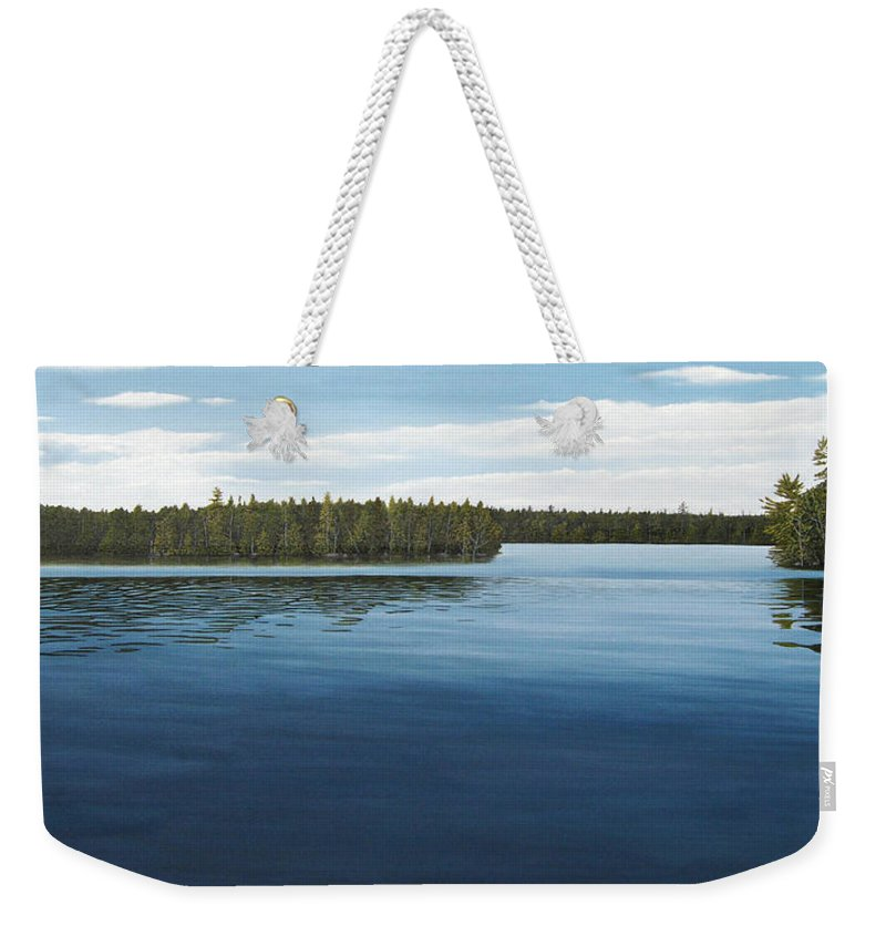 Landscapes Weekender Tote Bag featuring the painting Skinners Bay Muskoka by Kenneth M Kirsch