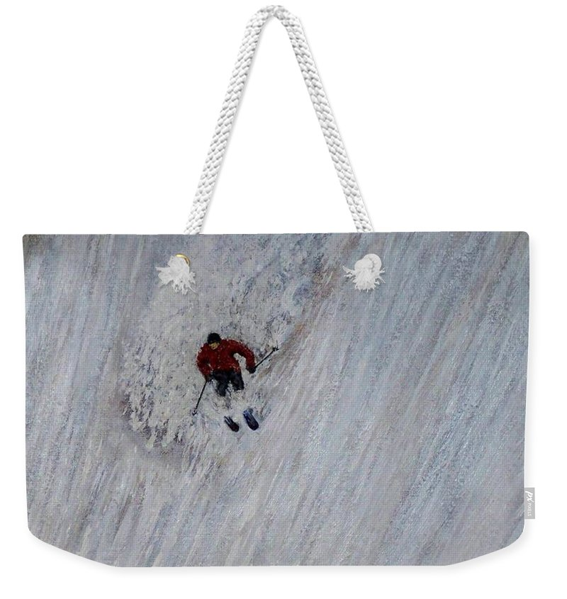 Landscape Weekender Tote Bag featuring the painting Skitilthend by Michael Cuozzo