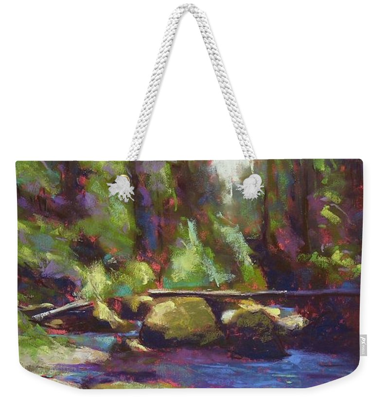 Landscape Weekender Tote Bag featuring the painting Skokomish River by Mary McInnis