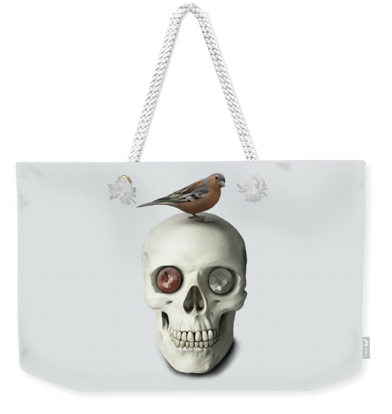 Skull Weekender Tote Bag featuring the painting Skull And Bird by Ivana Westin