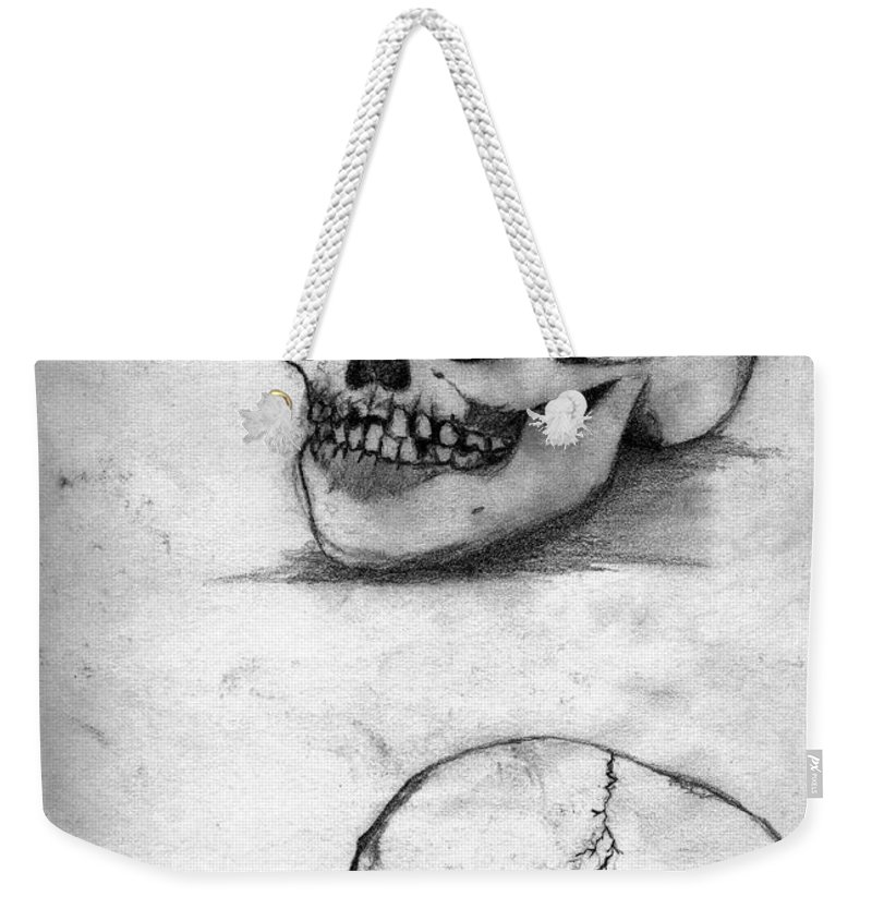 Skull Weekender Tote Bag featuring the drawing Skull Drawing by Alban Dizdari